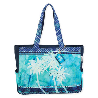 TURQUOISE PALMS OVERSIZED TOTE