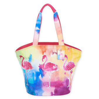 "SUNSET FLAMINGO SHOULDER TOTE | 21"" x 7"" x 15"""