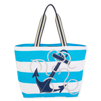 "NAUTICAL ANCHOR SHLDR TOTE | ZIPPER TOP | 21"" x 6"" x 14"""