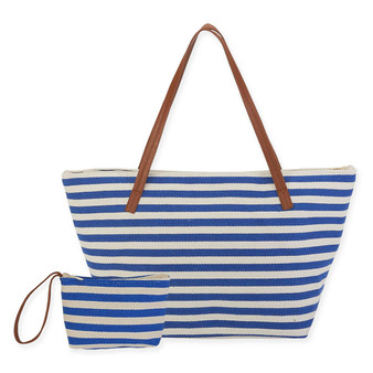 "BEACH BOUND CANVAS INSULATED SHOULDER TOTE | ZIPPER TOP | 21.5"" x 8"" x 12.25"""