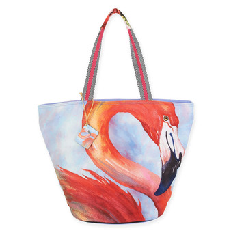 "TROPICAL FLAMINGO SHOULDER TOTE | 20"" x 7"" x 15"""