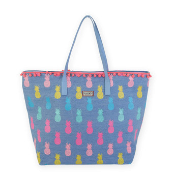 "PINEAPPLE SHOULDER TOTE | 20.5"" x 6"" x 14.5"""