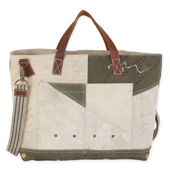 RIVETED PATCHWORK CARRY TOTE