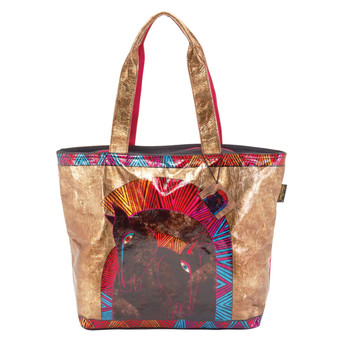 Foiled Canvas Embracing Horses Shoulder Tote