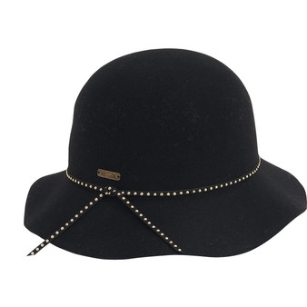 Wool felt cloche with studded faux leather trim | Black