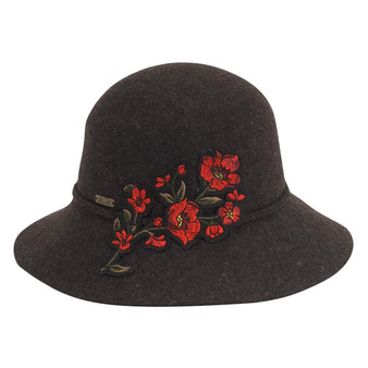 Wool felt cloche with embroidered floral trim | Black