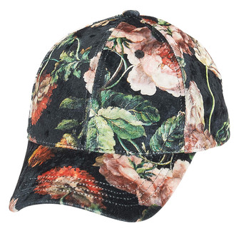 Fashion Baseball Cap with Floral Printed Design | Black