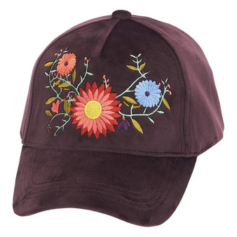 Fashion Baseball Cap with Embroidered Floral Trim | Violet