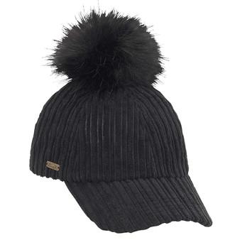 Fashion Baseball Cap with Fauc Fur Pom Pom Trim   Black