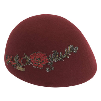 Wool felt beret with embroidered floral applique | Burgundy