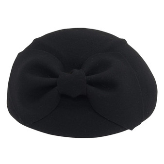 Wool felt beret with self bow trim | Black