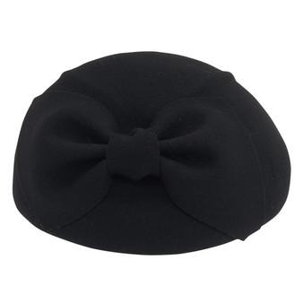 Wool felt beret with self bow trim | Black