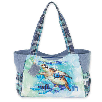 "LIVE BLUE TURTLE MEDIUM SCOOP TOTE | 16""x 5.5""x 8"""