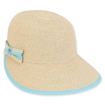 Helen Backless Paper Braid Hat - Aqua