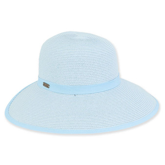 Keiko Backless Paper Braid Hat - Blue