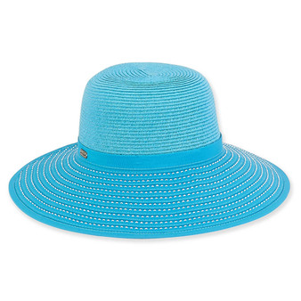 Mae Backless Paper Braid Hat - Turquoise