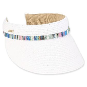 Seana Paper Braid Visor - White