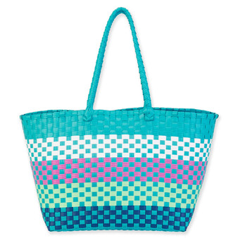 LUCCA SHOULDER TOTE - TURQUOISE