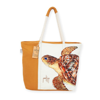 "TURTLE AQUATIC ICONS SHOULDER TOTE  | Wrap Around Print | 20""x 6""x 14"" 