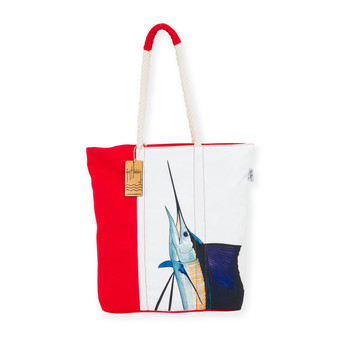 "MARLIN AQUATIC ICONS SHOULDER TOTE| Wrap Around Print | 16""x 4""x 17"" 