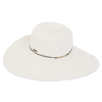 Adrian Braid Floppy Hat - White