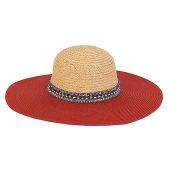 Lorelei Braid and Raffia Floppy Hat - Red