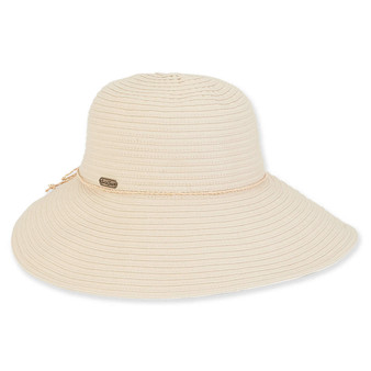 Saige Ribbon Wide Brim Hat - Natural