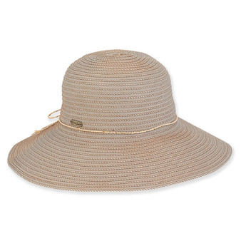 Shiloh Ribbon Wide Brim Hat - Tan