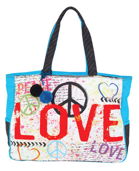 SUN N SAND LOVE, PEACE, OVERSIZED TOTE