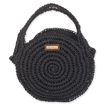 SUN N SAND PAPER STRAW ROUNDED TOTE HONU - Black