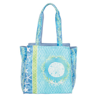 AUNDREY JEANNE SAND DOLLAR OVERSIZED TOTE - TURQUOISE