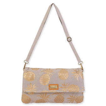 CARIBBEAN JOE PINEAPPLE PARADISE FLAP OVER CROSSBODY - GREY