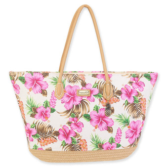 CARIBBEAN JOE TROPICAL VIBES SHOULDER TOTE - NATURAL