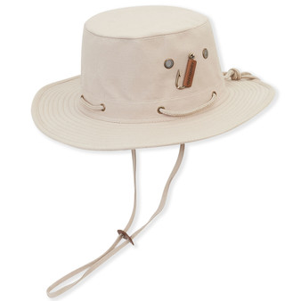 Cotton Hat With Fish Hook Trim & Chin Cord | Brim: 2.75""