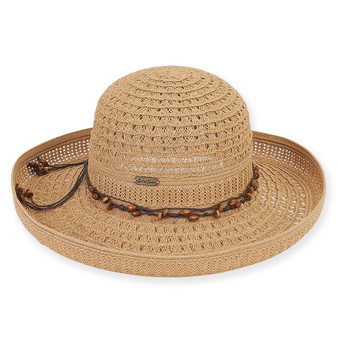 "PAPER BRAID HAT W/ BEADED TRIM  BRIM 4.25""  BEECH"