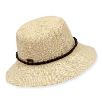 BRYN CROCHET PAPERSTRAW HAT W/BEADED TRIM & SIZER