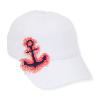 BASEBALL HAT W/ANCHOR FRINGE  BRIM 2.75""