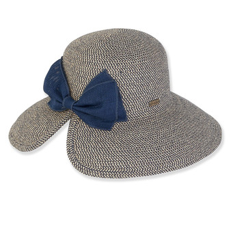 SEWN PAPER BRAID HAT W/ JUTE BOW  BRIM 4""