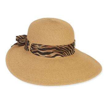 PAPERBRAID HAT W/ ZEBRA CHIFFON SCARF