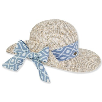 PAPER BRAID HAT W/ PRINTED COTTON TRIM  BRIM 3.25