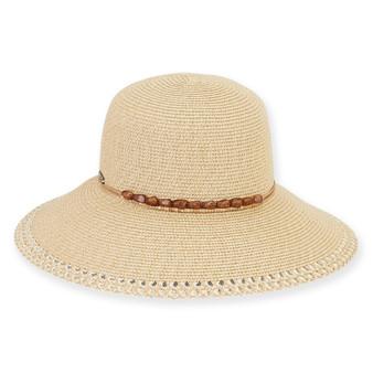 "PAPER BRAID HAT W/BEADED TRIM  BRIM 4""  STONEGATE"