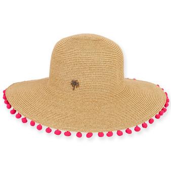 """PAPER BRAID HAT W/POM POM BRIM  BRIM 4""""  TWINBERRY"""