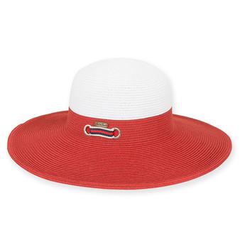 """PAPER BRAID HAT W/RIBBON TRIM  BRIM 4""""  RHINE"""