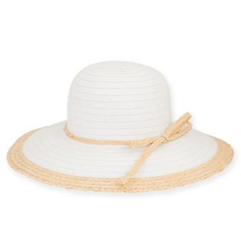 """COTTON HAT W/RAFFIA BRIM 4""""  ROMA"""