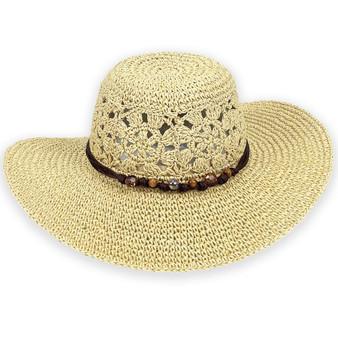 PRAIRIE PROVICIAL PAPERBRAID HAT W/BEADED TRIM