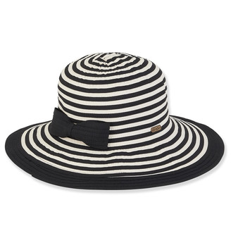 BLACK, STRIPED RIBBON HAT/BOW BRIM 4""