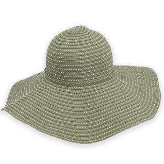 KHA. GREEN, TUSCANY RIBBON HAT W/WHT STITCHING & SELF TRIM