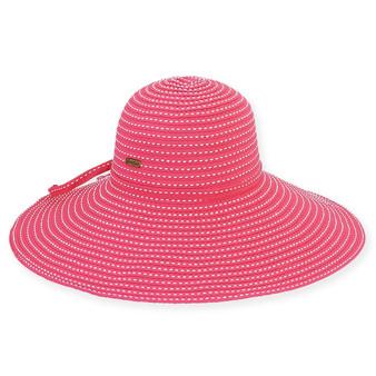 FUCH, TUSCANY RIBBON HAT W/ WHT STITCHING & SELF TRIM
