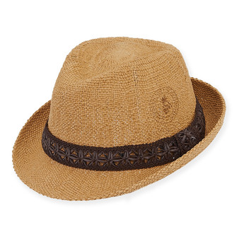 TAN, CJ HAT W/FAUX LEATHER BRIM 2""