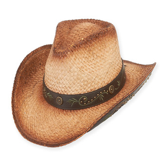 WESTERN HAT W/FAUX LEATHER TRIM  BRIM 3.5""